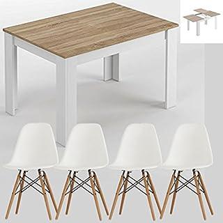 HABITMOBEL Pack 4 Sillas de Diseño + Mesa de Comedor Extensible DE 140 A 190cm