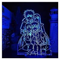 ベッドサイドランプ 3Dランプ港県串焼りたた田家族LEDイリュージョンライト子供寝室装飾テーブルランプアニメ視覚照明ランパラ (Color : 7 colors no remote)