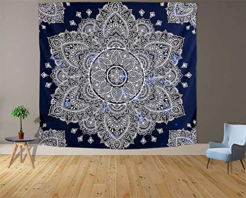 Tapiz blanco y negro Luna Estética Misterio Chakra Meditación Planeta Tapiz de pared Sala de estar Decoración Tapiz a15 73x95cm