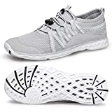 Alibress Men's Quick Drying Aqua Shoes Slip On Barefoot Water Shoes Grey Gray White 12 M US