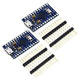 2 tarjetas de ATMEGA32U4 Pro Micro Arduino compatible 5 V 16 MHz pines gratis conector micro micro USB para cargador de arranque Arduino IDE 1.0.1