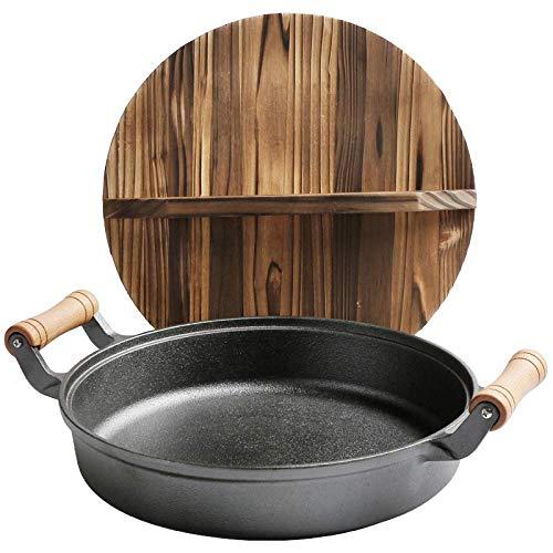 Cast Iron Wok Pan Multi-Purpose Poêle avec poignée en bois et en fonte avec fond rond et les oreilles Deux, Deepening30cm QIANGQIANG (Color : Deepening30cm)