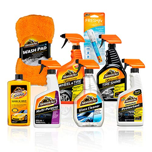 Armor All Premier Car Care Kit (8 Items) - 3pc Ultra Wax & Wash Kit, 3pc Interior, Glass Cleaner & Air Freshener and 2pc Tire Shine & Wheel Kit, 18574