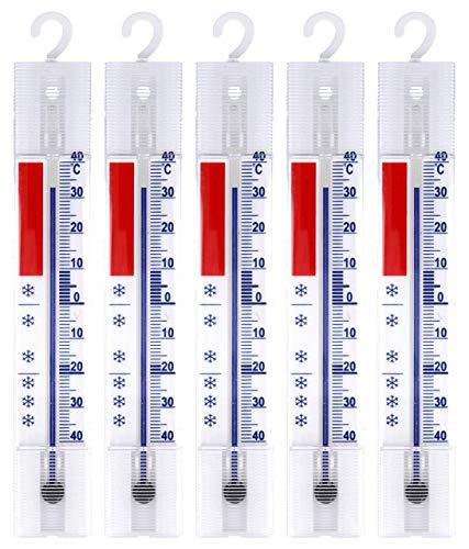 Lantelme 5 Stück Kühlschrank Thermometer Set Deutsche Herstellung analog Gefrierschrank Kühlschrankthermometer Haken 3293