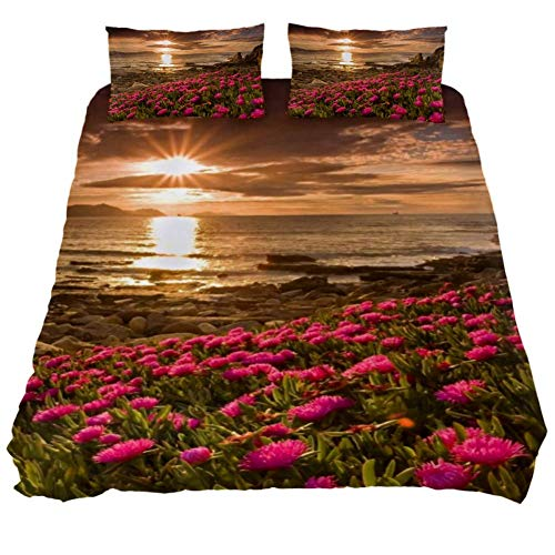 Duvet Cover Set Field Flowers Water Beach Comforter Bedding Sets Soft 3 Piece King Size with 2 Pillow Shams Hypoallergenic Soft and Comfortable Zipper