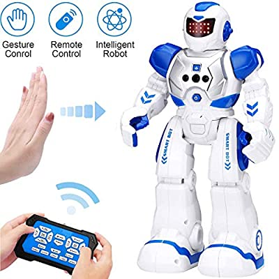 KingsDragon Robots for Kids,RC Robot Smart Programmable Gesture Sensing Toy,Interactive Walking Singing Dancing Robot Birthday Presents for Boys Girls 4 5 7 8 9 12 Years Old