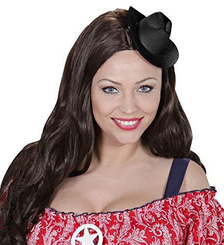 Goldschmidt Kostüme Kleiner Hut Cowboy   Minihut in beige oder schwarz   Cowboyhut Farbe wählbar   für Fasching & Karneval   Befestigung Haarclips (schwarz)