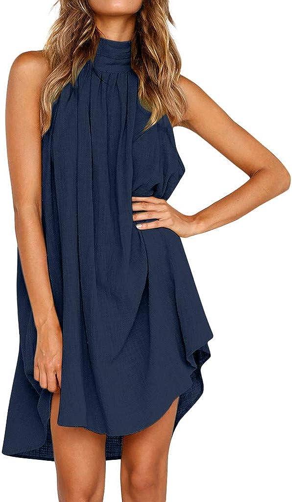 Oiumov Summer Dresses for Women, Womens Sleeveless Plain Ruffled Cami Mini Dress Casual Beach Sundress Loose Boho Dress