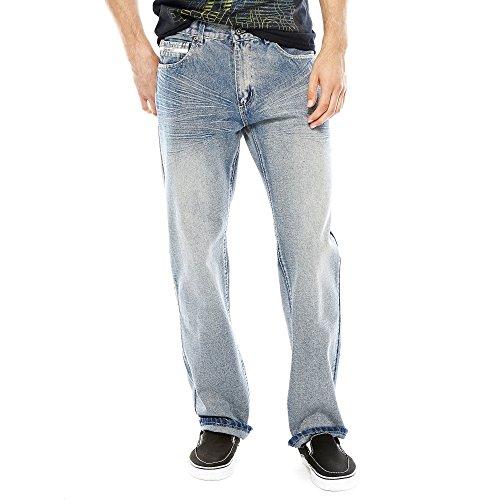 Ecko Unltd. Men's Loose Fit 5 Pocket Long Bottom Denim Jean, Crystal, 34x32