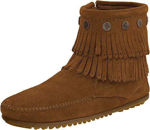 Minnetonka Damen Double Fringe Side Zip Boot Mokassin Stiefel, Braun (Brown 2), 41 EU
