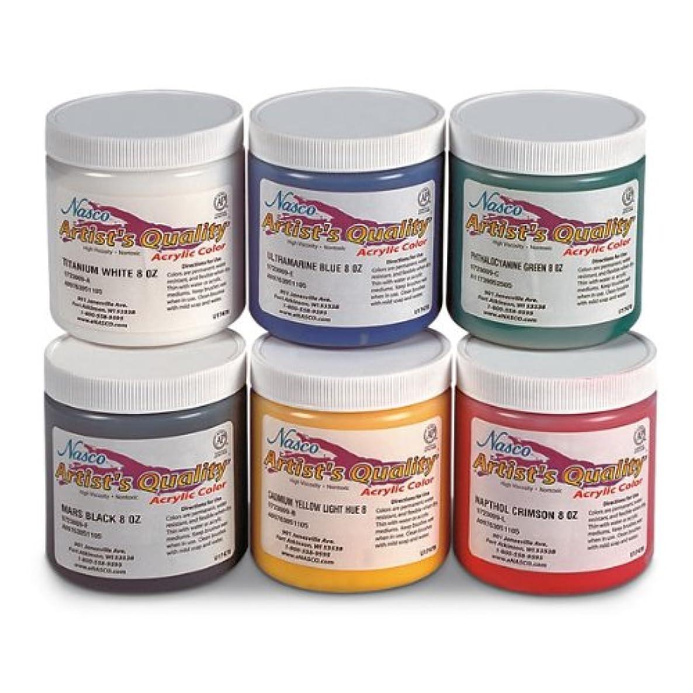 Nasco 6 Piece Professional Acrylic Paint Set, 8 oz Jars, Grades 7+