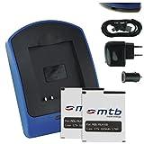 2X Akku + Ladegerät (Netz+Kfz+USB) RL410B für Rollei Action Cam 230, 240, 400, 410 / Maginon AC-800W [3.7V / 1000 mAh/Li-Ion]