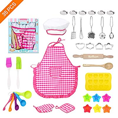 Kids Chef Costume Set for Kids Cooking and Baking Stuff Game 34 Pcs Kids Baking and Cooking Kit Set Includes Kids Chef Hat and Apron Kids Baking Cooking Tools and Utensils for Boys and Girls