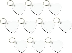 Healifty 10pcs Heart Blank Keychains Sublimation Keychains for Heat Transfer White