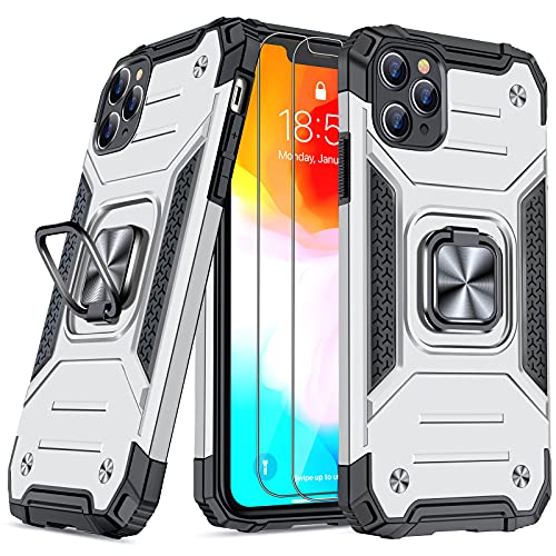 JAME Case for iPhone 11 Pro Max Case with [Tempered-Glass Screen Protector 2Pcs], Military-Grade Protection, Shockproof Protective 11 ProMax Case, with Ring Kickstand for iPhone 11 Pro Max Silver