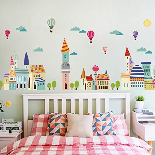 Color de dibujos animados Casa de pueblo Castillo Nubes Globo de aire caliente Zócalo Pegatinas de pared Habitación de niños Sala de estar Pasillo Decoración Línea de cintura