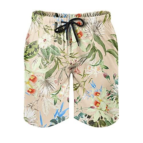 Bañador para hombre con diseño de plantas tropicales, hojas y flores, de secado rápido, estampado 3D, con forro de malla, pantalones cortos para correr, con cordón, bolsillos blancos, 5XL