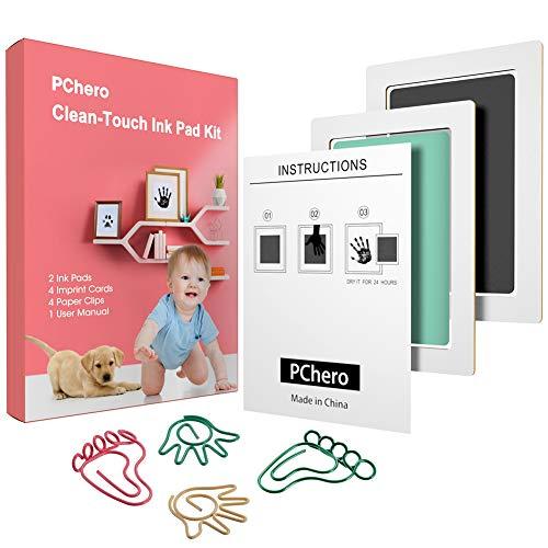 PChero Baby Handprint en Footprint Clean-Touch Inktkussen Kits met Fotolijst en Vlaggenlijn Set voor 0-6 Maanden Kraamcadeau (A, Zwart + Groen)