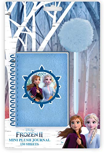 Innovative Designs Disney Frozen 2 Elsa and Anna Plush Mini Journal for Girls with Pom Pom Pen