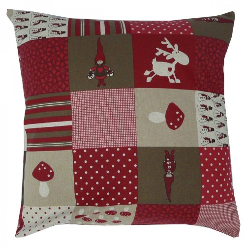 SCHÖNER LEBEN. Cushion Cover Christmas 50 x 50 cm Patchwork Red