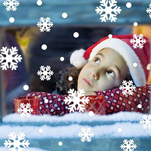 Autocollant de Mur de Noël,LMMVP Mur Fenêtre Autocollants Angel Flocon de Neige Noël Xmas Vinyle Décoration d'art Décalcomanies (Blanc, 61)