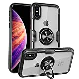 MOVOYEE Design for iPhone XR Case Thin,iPhone XR Cases Clear iPhone XR Case Transparent,iPhone XR Case Stand Magnetic Ring Shockproof Silicone Hard Back Cover Case for Apple iPhone XR 6.1 Inch Black