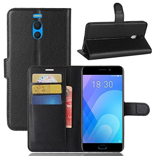 Guran® Custodia in Pu Pelle per Meizu M6 Note/Note 6 Smartphone Avere Portafoglio e Funzione Stent Case Flip Cover Caso Copertura Protettiva-Nero