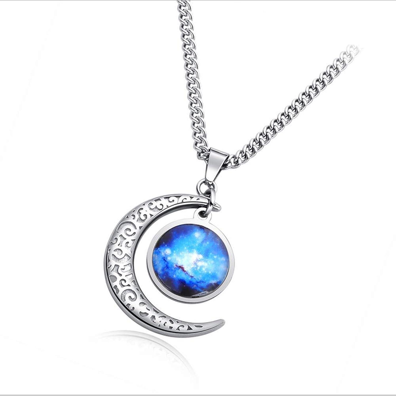 Necklace Star Moon Moonlight Stone Pendant Vintage Fashion Titanium Steel Men's Jewelry