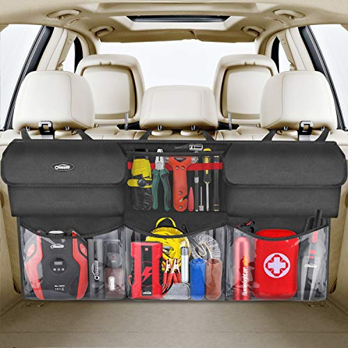 Oasser Back Seat Trunk Organizer Hanging Car Organizer Trunk Foldable Cargo Storage with 6 Large Pockets 3 Adjustable Straps