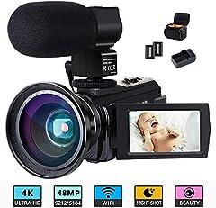 ビデオカメラ ACTITOP デジタルビデオカメラ 4K フルHD 4800万画素 WIFI機能 16倍デジタルズーム IR夜視機能 3.0インチタッチモニター 外部マイク 超広角レンズ搭載 カメラバッグ 日本語システム (4800万画素)