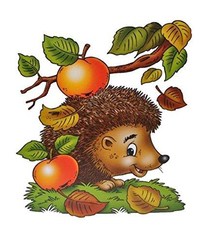 dpr. Fensterbild Igel AST Blätter Äpfel Herbst Fenstersticker Fensterdeko Herbstdeko