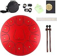 スチールタンドラム Handpan Steel Tongue Drum 12インチ11リアクションhandpanドラム、子供のためのエレガントなクリエイティブパーカッション楽器小さなドラム(色:赤) (Color : Red)