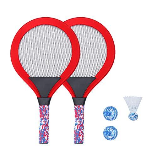 BESPORTBLE 1 Juego de Raquetas de Tenis para Niños Juego de Raquetas de Playa con Pelotas de Interior Y Exterior Juguetes Deportivos para Niños (Rojo)