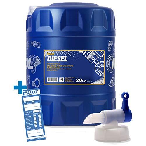 MANNOL 20L Diesel 15W-40 Universal Motoröl API CF/SL ÖL + Auslaufhahn für Dieselmotoren