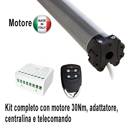 kit motore per tapparella - tenda con centralina e telecomando, completo di staffa fissaggio ed adattatore