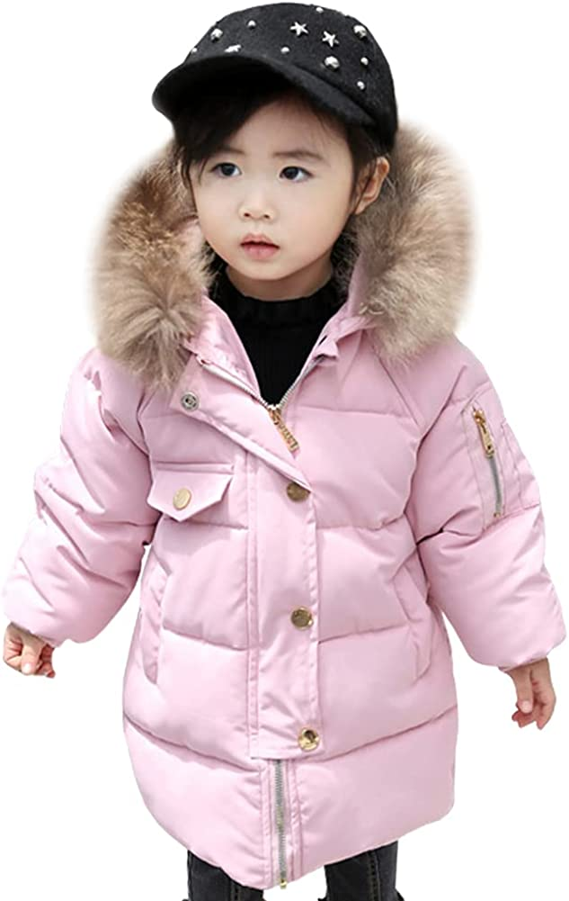 LSPAR Girls Hooded Winter Down Coat Puffer Fur Collar Jacket for School Outwear