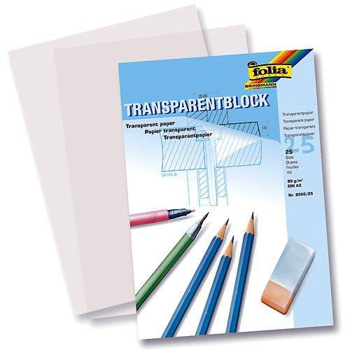 Folia 8000/25 Transparentpapierblöcke, Skizzenpapierblöcke Transparentpapierblock A4 25 Blatt