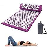 Dr. Li Acupoint Acupressure Mat and Pillow Set, acupuntura Masaje esteras para Masaje Wellness Relajación y liberación de tensión Relajación Muscular Recuperación Post-Deportiva (Púrpura)