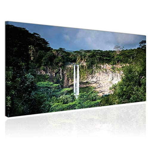 Topquadro XXL Wandbild, Leinwandbild 100x50cm, Wasserfälle im Amazonas-Regenwald, Dschungel, Bäume und Natur, Landschaften - Panoramabild Keilrahmenbild, Bild auf Leinwand - Einteilig