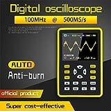 Osciloscopio, pantalla LCD profesional Mini osciloscopio digital portátil Batería de litio incorporada, 64 MB de espacio de almacenamiento, ancho de banda de 100MHz, frecuencia de muestreo de 500MS/s