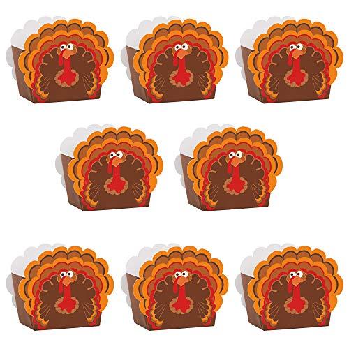 Unique 8 Count Cartoon Turkey Favor Boxes