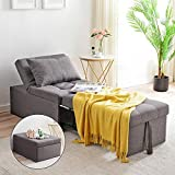 Cozy Castle Multifunctional Sofa Bed, Sleeper Chair, Ottoman, Convertible Chair 4 in 1, Multi-Function Adjustable Lounge Bed, Living Room Sofa, Modern Linen Fabric, Couch Bed for Small Apartment