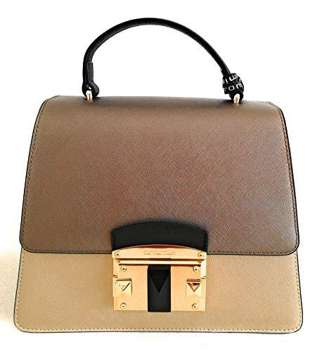 Cromia Damen Handtasche Leder mit Schultergurt Linie Bag IT Saffiano 1403875 Farbe Gold Maße 24 x 19 x 11,5 cm