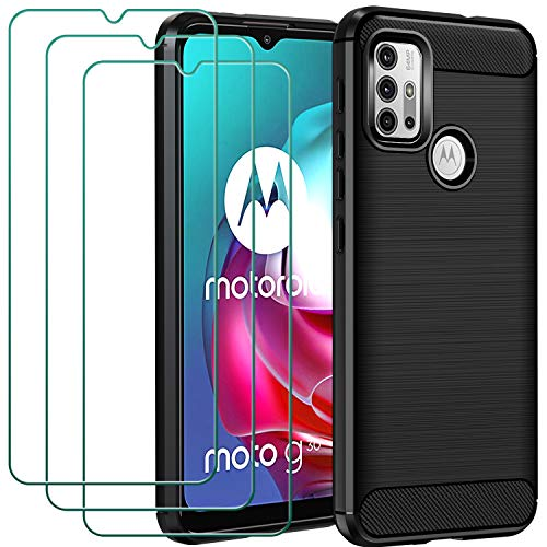 ivoler Funda para Motorola Moto G30 / G20 / G10 con 3 Unidades Cristal Templado, Fibra de Carbono Carcasa Protectora Antigolpes, Suave TPU Silicona Caso Anti-Choques Case Cover - Negro