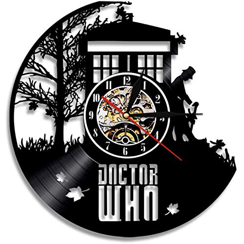 YUN Clock Doctor Who Wanduhr aus Vinyl Schallplattenuhr Upcycling Design-Uhr Wand-Deko Vintage Familien Zimmer Dekoration Kunst Geschenk Ø: 30 cm (Lieferzeit: 3-5 Tage)