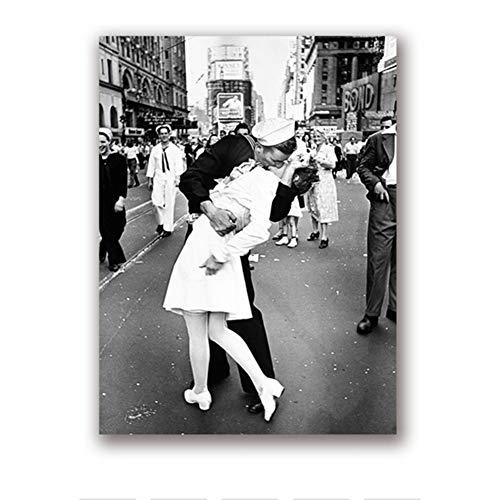 nr Tag in Times Square Poster Druck Kuss Wandkunst Leinwand Schwarz Weiß Bild Valentinstag Liebe Geschenk Home Room Decor50x70cm No Frame