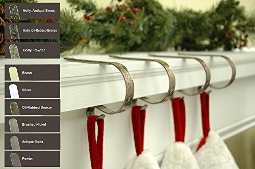 Original Mantle Clip - Gancio originale da camino, in peltro lavorato a sbalzo, per calze di Natale (confezione da 2)