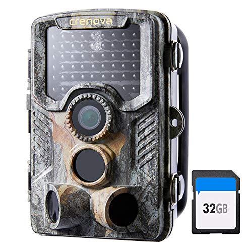 Crenova 20 MP 4K Wildkamera mit 32 GB SD-Karte 47pcs-940nm-IR-LEDs für 20m Nachtsicht und IP66 wasserdichtes Material Jägerkamera Spurkamera Diebstahlschutz