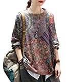 YESNO Women Causal Graphic Crew Neck Loose Long Sleeve Knitted Pullover Printed Sweater 2XL S01 CR27