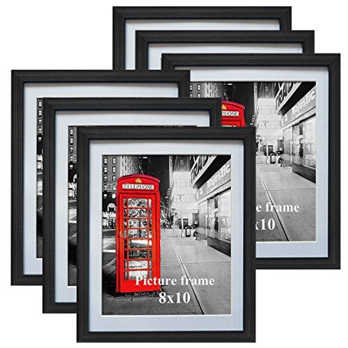 Eono Amazon Brand Schwarze Bilderrahmen 20x25 cm mit Glas und weißem Passepartout, wandhängend oder freistehend, 6er Set
